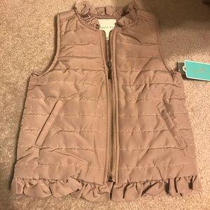 Girls copper key tan ruffle vest
